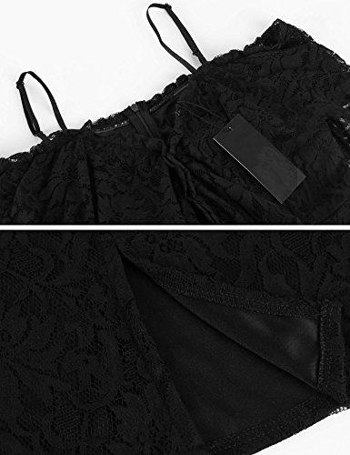 ZEARO Sexy Robe Dentelle pour Femme Chic Dress Courte de Crayon robe Col Bateau Epaule Nue Noir