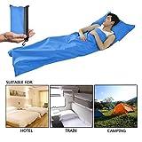 Middletone Saco de dormir,fácil de llevar y limpiar,sábana con cierre,funda de viaje,para viaje y camping de verano(color azul)