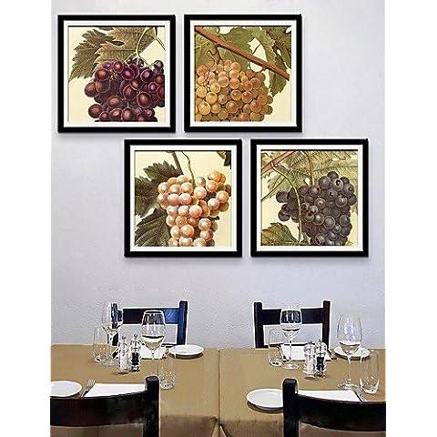 e-HOME arte lienzo enmarcado, uva enmarcado lona de ajuste de impresión de 4