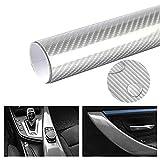 5D Carbon Auto Folie, 5D Hochglanz Antifouling Und Anti-UV Auto Innen- Und Außenaufkleber Autoschutzaufkleber (Silber,50cm*400cm)
