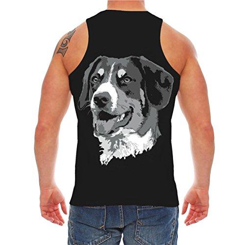 Männer und Herren Trägershirt Großer Schweizer Sennenhund (mit Rückendruck) Schwarz