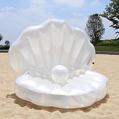 OGAWOO 170 cm Aufblasbare Shell Pool Float Sommer Wasser Luftbett Liege Clamshell Mit Perle Muschel Kammmuschel Bord, weiß