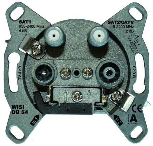 WISI 72147 DB54, SAT Antennendose, 4-Loch Stichdose, Single/Twin, 2/4 dB grau
