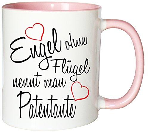 Mister Merchandise Kaffeebecher Tasse Engel ohne Flügel nennt Man Patentante Schwanger Baby Pate Beste Freundin Tantchen Schwester Teetasse Becher Weiß-Rosa