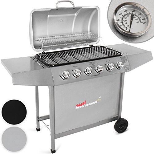 Broil-master-Gasgrill-BBQ-GRILLWAGEN-Edelstahl-Brenner-6-Hauptbrenner-in-Farbe-silber