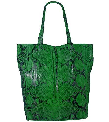 Freyday Damen Echtleder Shopper mit Innentasche in vielen Farben Schultertasche Henkeltasche Metallic look (Snake Print Grün) - Print Große Shopper-handtasche