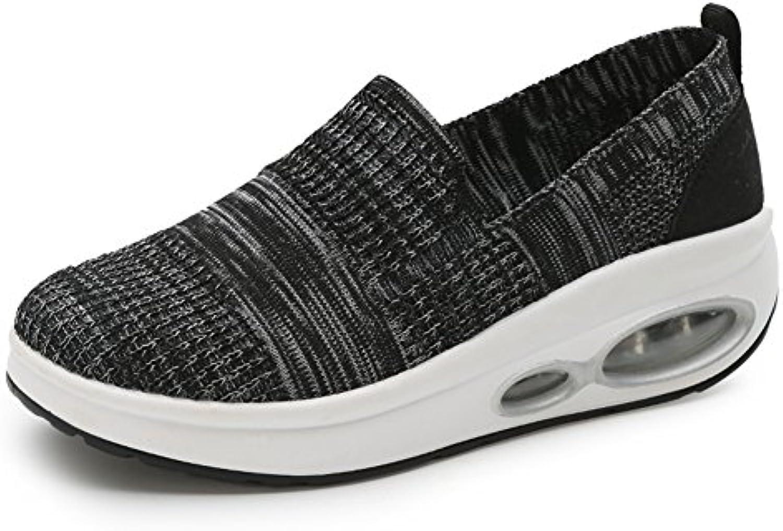 LFEU Zapato Gótico de Cuña Para Mujer Lienzo Sin Cordones Zapato Punk Respirable Cómodo 35-40(Recomendar Tamaño...