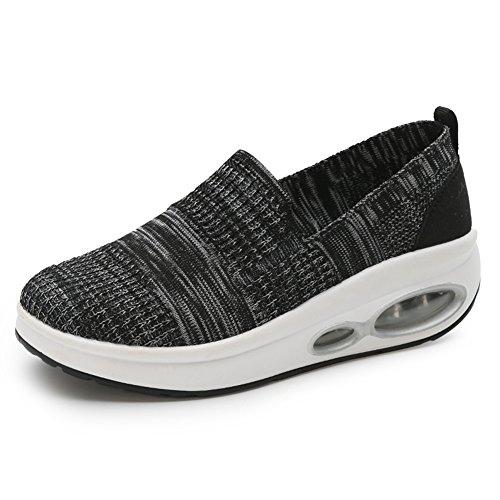 Zapato gótico de cuña para Mujer Lienzo Sin Cordones Zapato Punk Respirable cómodo Negro 38(Recomendar tamaño uno más)