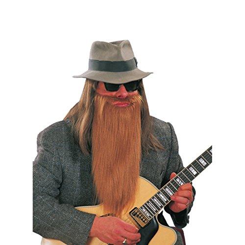 Vollbart Kostüm - Langer ZZ Top Bart Rocker Bärte braun Vollbart Biker Kunstbart Zi Zi Rockerbart Faschingsbart Kostüm Zubehör