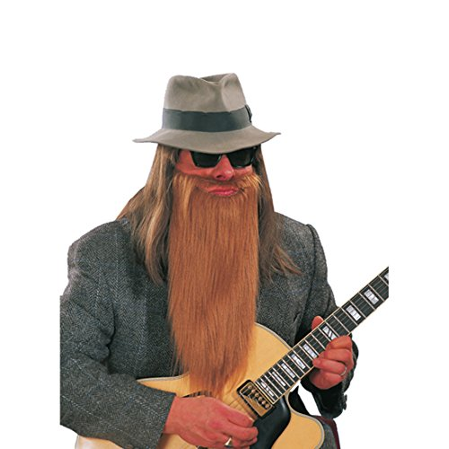 Langer ZZ Top Bart Rocker Bärte braun Vollbart Biker Kunstbart Zi Zi Rockerbart Faschingsbart Kostüm - Lange Bärte Kostüm