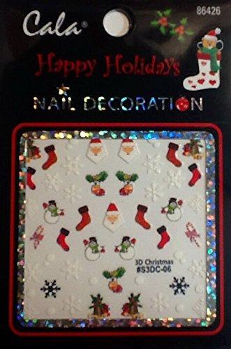 Cala Holiday Season Christmas Nail Stickers! Reindeer, Santa, Gifts, Bells, Wreaths, Merry Christmas, & More! Nail Art! (86426- SNOWFLAKES SANTA STOCKINGS) by Cala