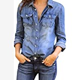 NPRADLA 2018 Mode Frauen beiläufige Blaue Jean Denim Langarm Shirt Tops Bluse Jacke