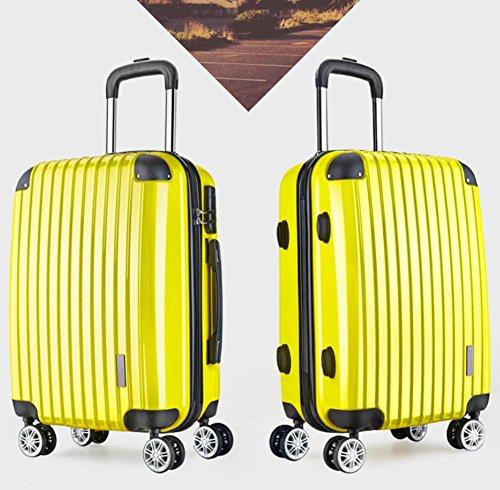 """Xiuxiandianju Particolarmente scelta libertà rigida leggera filatura Set di bagagli di rotolamento (20"""" 22"""" 24 """"26""""28"""") Yellow"""