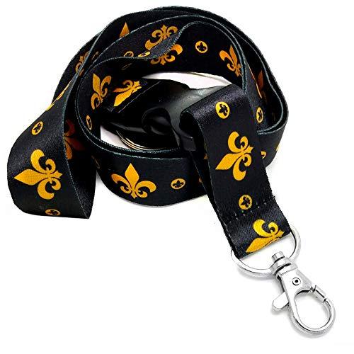 Lanyard Lanyard/Umhängeband mit Schnellverschluss, Fleur-de-Lisen-Motiv, mit 2 transparenten Taschen, Ausweis, Kartenfächern, goldfarben/Schwarz