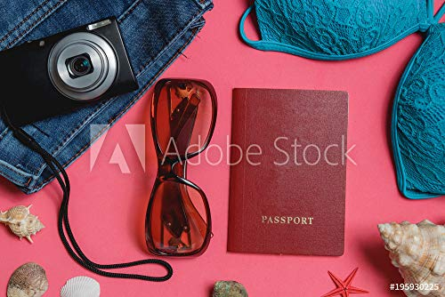 druck-shop24 Wunschmotiv: Passport, Swimsuit, Jeans, Sunglasses, Photo Camera, Seashell on Pink Background. Top View Travel Concept. #195930225 - Bild auf Leinwand - 3:2-60 x 40 cm / 40 x 60 cm