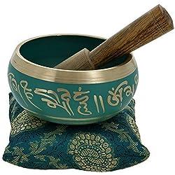 YouCan medio tibetana cantando cuencos Set Verde con cojín (almohada) y Stick (mazo)–Meditación Cuenco Tibetano