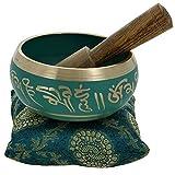 Ensemble de bols de chant tibétains YouCan - Comprend un bol, un coussin et un maille de chant - Pour guérir par la prière, le yoga et la méditation. 4 inch Green