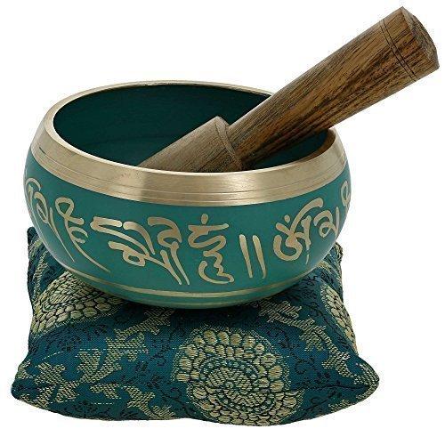 Tibetische Klangschalen von YouCan im Set, inklusive Klangschale, Kissen und Klöppel, für Heilung, Meditation, Gebet und Yoga 4 inch grün Kristall-klangschalen Für Die Heilung