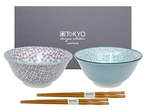 TOKYO design studio Geo Eclectic Bol Tayo avec Baguettes hb-5841/df, Porcelaine, Multicolore, 15 x 6.7 cm, Lot de 2