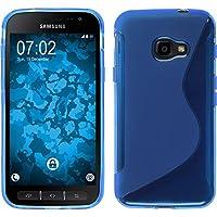 PhoneNatic Case für Samsung Galaxy Xcover 4 Hülle Silikon blau S-Style + 2 Schutzfolien