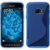 PhoneNatic Case für Samsung Galaxy Xcover 4 Hülle Silikon blau, S-Style + 2 Schutzfolien