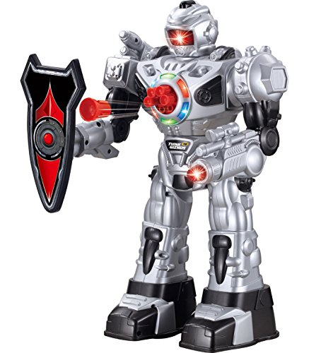 ThinkGizmos Le Robot radiocommandé pour Enfants - Le Superbe Robot Jouet Amusant- Danse, Tire des fléchettes Souples, Parle & Marche – RoboAttack