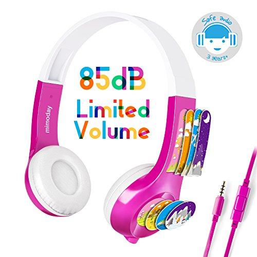 Mädchen Tablet (Mimoday Kinder Kopfhörer Begrenzter Lautstärke mit Mikrofon für Jungen und Mädchen iPad iPhone Kindle Fire Tablet Smartphones-Pink)