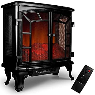 Elektrischer Doppeltür-Kamin mit Heizlüfter und Kaminfeuer-Effekt Elektro Kamin Ofen Heizung Heizlüfter Feuereffekt Fernbedienung 2000 Watt