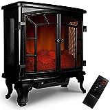Cheminée électrique double porte avec chauffage effet feu de cheminée