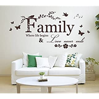 'Family, Where life begins & Love never ends' Quote, Vinyl Wall Art Sticker. Mural, Decal. Home, Wall Decor. Living Room, Bedroom, Dining Room