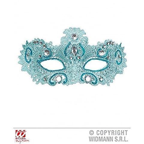 Augenmaske Noblesse aus Spitze in hellblau mit Glitter und Strass Venetianermaske / Karneval / Fasching