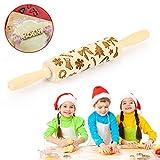 EKKONG Nudelholz Teigrolle, Nudelholz Muster Teigroller Holz Prägerolle Weihnachten 3D Nudelholz für DIY Weihnachtsplätzchen Küche Lebkuchen Plätzchen - Weihnachten Socken Mustern
