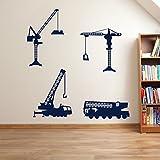 Building, Costruzione, gru 01-Adesivi per decorazione da parete, Adesivi da parete Wall Art-Adesivi da parete adesivi, decorazione per parete adesivo da parete rimovibile, motivo adesivi colorati, Vinile, 14 - Dark Blue, Large Set