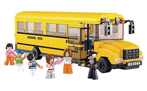Funstones - Bausteine Großer US Schulbus Schule Bus USA + Figuren Baustein Bausatz Set Bau Steine