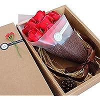 Flor de Jabón,niceEshop(TM) Creativo Regalo Práctico Cumpleaños Regalo para Amigos, Novia, Madre, Profesor y Así Sucesivamente,Rojo