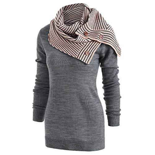 Eucoo pullover a maniche lunghe in maglione lavorato a maglia a manica lunga con pullover a maniche lunghe(grigio,large)