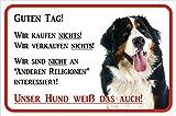 AdriLeo Schild - Vorsicht Berner Sennenhund Wir kaufen Nichts (20x30cm)