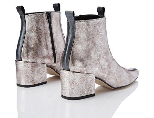 886516cbb0a9f4 FIND Damen Ankle Boots mit Blockabsatz Silber Silver -foerderverein ...