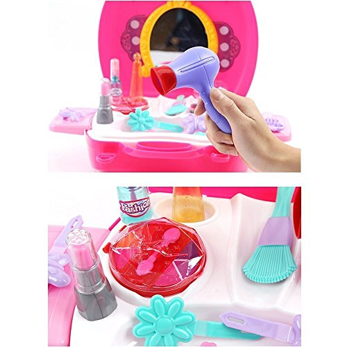 smartcraft Girl's Bring Along Beauty Suitcase Makeup Vanity Toy (Multicolour) - Set of 21