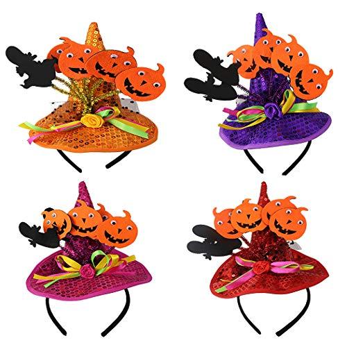 ZOYLINK 4 STÜCKE Halloween Haarband Kürbis Hexenhut Decor Party Stirnband Kostüm (Non Halloween Kostüm)