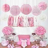 HappyField Baby Girl Baby Shower Decorazioni Girl Birthday Party Decorations Tessuto Pom Poms Lanterne di carta Carta velina Tessuto nappa a nido d'ape Palline Baby Pink Articoli per feste