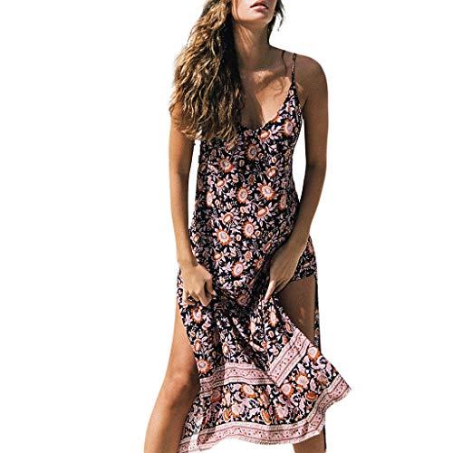d9c6348c30c3 iHENGH Shirt Queen Moda Cotone Floreale Stampa V-Collo Pliestere Donna Mini  Dress Senza Manica