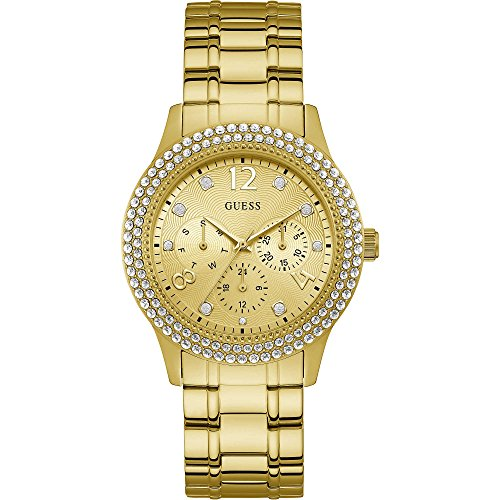 Guess Damen Analog Quarz Uhr mit Edelstahl Armband W1097L2 (Guess Watch Damen)