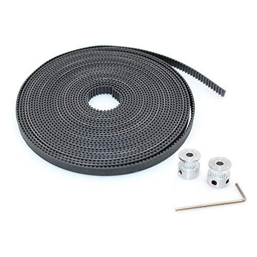 BIQU GT2 6mm Gummi-Zahnriemen Offen für 3D-Drucker, 5 Meters Timing Belt + 2pcs Pulley Wheel, 1