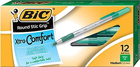 BIC Round Stic Grip Stylo bille à pointe moyenne 12 Count Green