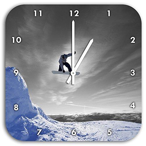 Snowboard Sprung, Extremsport schwarz/weiß, Wanduhr Quadratisch Durchmesser 28cm mit weißen spitzen Zeigern und Ziffernblatt, Dekoartikel, Designuhr, Aluverbund sehr schön für Wohnzimmer, Kinderzimmer, Arbeitszimmer (Snowboard Uhr)