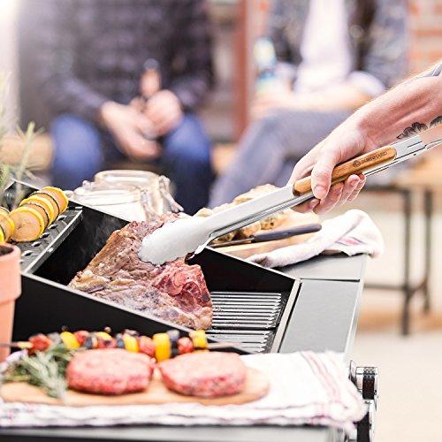 517ZKtRhfVL - Akazienholz Edelstahl Grillbesteck-Set 3 tlg. von BURNHARD Grillzubehör mit Grillzange, Grillwender und Fleischgabel mit extra-langen Holzgriffen und Aufhänge-Ösen