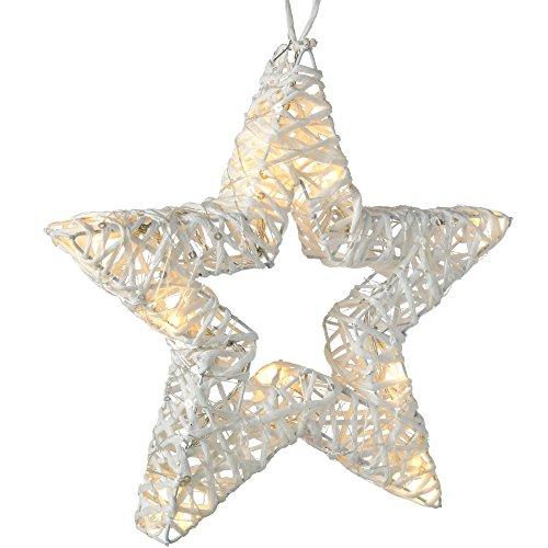 WeRChristmas Aufhängen gewebt Star warm weiß Weihnachten Dekoration, 30cm