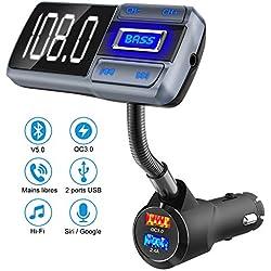 Transmetteur FM Bluetooth 5.0, adaptateur audio récepteur kit mains libres sans fil pour voiture avec grand écran LCD, QC3.0 et deux ports USB intelligents 2.4A, entrée sortie AUX, lecteur MP3 TF Card
