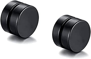 Miami Metal Round Barbell Magnetic One Pair Non-Piercing Stud Earrings for Men (Black, BALI-104)